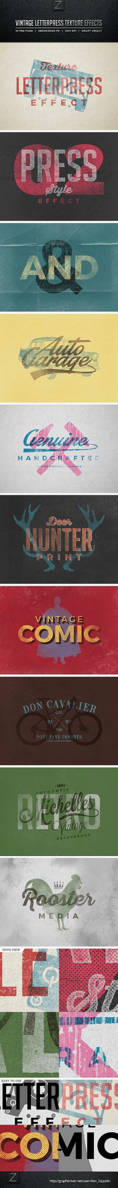Vintage Letterpress Texture Effects - Text Effects Styles