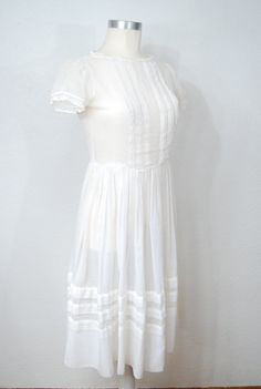 vintage 1970s / sheer white cotton / dress / lace / by YeYe, $36.00