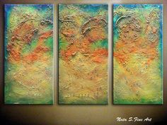 """Art Painting.Original Modern Abstract Heavy Textured Painting.Palette Knife.Abstract Large Artwork. Triptych   36"""" x 54""""  -  by Nata S."""