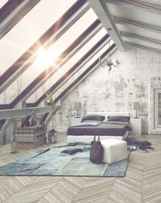Vintage loft-style attic bedroom with wall of skylights.
