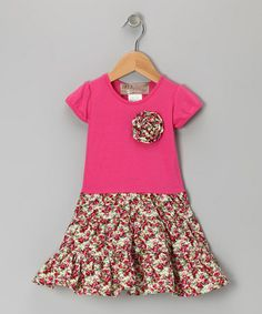 Take a look at this Hot Pink Floral Rosette Dress - Toddler & Girls by Lele Vintage on #zulily today!