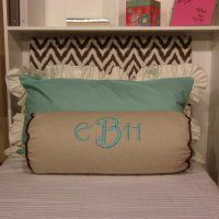 ~~REPIN~~ if you like~~  Bolster pillow with a ruffled pillow.  Perfect for a girls dorm! #custom | #DormBedding | Dorm Suite Dorm
