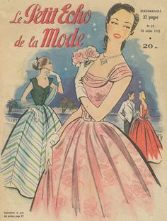 One of a set of 4 original French fashion magazine covers from the 1950s. This group of fashion prints shows some delightful summer dresses from the era, it features dresses at the race track and evening gowns.