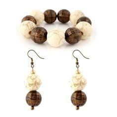 Bead Bracelet and Earrings Set - 1