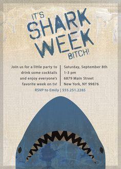 5x7 Shark Week Party Invitation PDF printable. Love shark week! How fun!