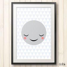 Kids poster, nursery decor, children's wall art, kids room decor, moon poster by Dodlido on Etsy