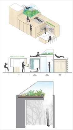 This apartment has a unique 'third space' between the living and sleeping areas that houses the bathrooms and allows plants to grow on top.