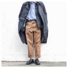 "Reposting @____b.marine: ... ""<2017.3.3> Happy Friday ☀ • Device Coat #teatora • Denim Jacket #tcbjeans #denimjacket • Shirt #comoli • pants #comoli2016aw • Shoes #paraboot #parabootchambord"" Menswear mode style outfit fashion ootd homme inspiration idée inspiration"