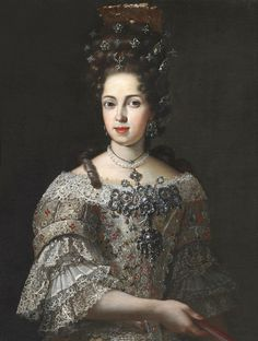 Ana Maria Luisa de' Medici, last scion of the Medici. Bequeathed her huge art collection to Florence, on condition that it never be moved. Spouse of Johann Wilhelm, Elector Palatine. The painting may be by Antoniao Franchi.