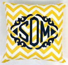 Monogrammed Chevron Throw Pillow