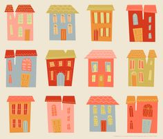 Houses fabric by stefohnee on Spoonflower - custom fabric