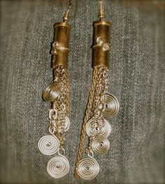 Ammo bullet Earrings chain handcrafted upcycled gun by PiXiesBeads, $9.00