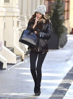Perfect pins: The slender TV presenter, writer and model showed off her legs in a pair of skintight skinny jeans, teamed with comfortable boots