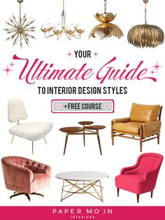 """Interior design style- there are so many of them! What's a girl to choose? Well I've got you covered, I've broken down 24 of the most popular interior design styles (three styles within eight different style """"personalities"""") to help nailing your signature interior design style a breeze! On"""