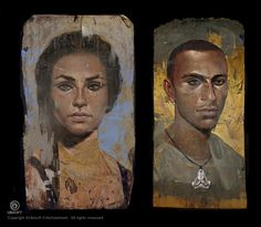 Assassin's Creed: Origins Fayum Portraits Bayek and Aya, Jeff Simpson on ArtStation at https://www.artstation.com/artwork/oY4OB