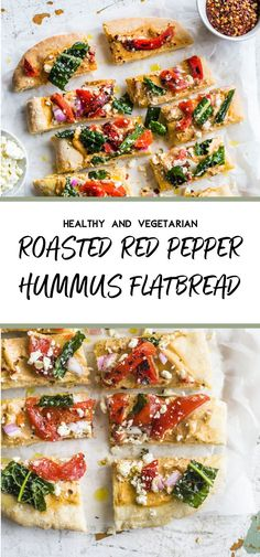 This Hummus Flatbread is made with traditional pizza dough and topped with roasted red pepper hummus, red peppers and feta cheese and is a tasty, vegetarian lunch or snack. Vegetarian Roast, Vegetarian Snacks, Best Vegetarian Recipes, Flatbread Toppings, Flatbread Ideas, Hummus Pizza, Red Pepper Recipes, Red Pepper Hummus, Kitchens