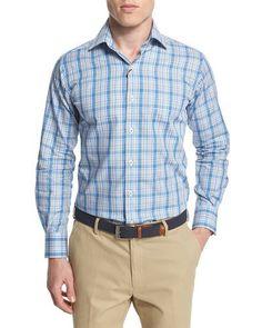 Windowpane Long-Sleeve Sport Shirt, Azure