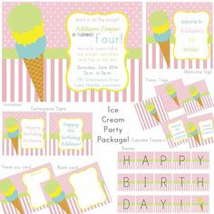 PRINTABLE Ice Cream Icecream Cone Parlor Shoppe Party Package Set - Perfect for a Birthday or Summer Party. via Etsy.