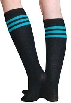 0ef3675ea Black and Teal Tube Socks Knee High Socks