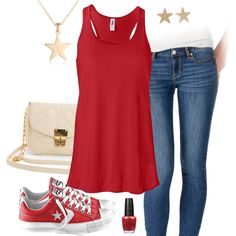 Red, White, Blue, Converse Outfit