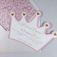 Prinzessin Krone Einladung Geburtstag Pink von FancyFunctionDesigns