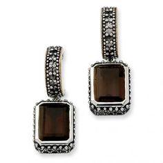 Parker Jewelers. Sterling Silver Smokey Quartz Earrings with 14k Yellow Gold Accents. (QTC614) $114.95. Call (856)935-3400 to order today!