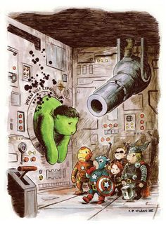 """A fun Avengers variant cover by artist Charles Paul Wilson III, to honor the upcoming """"Avengers"""" film, and featuring the same character lineup. I love the Winnie the Pooh reference."""