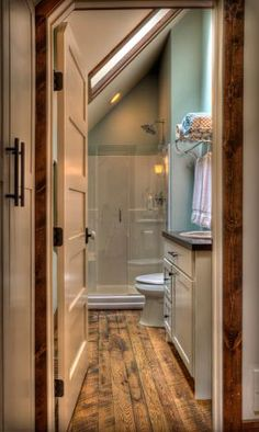 Clever Attic Bathroom Complete With Shower Built In Closet Storage Attics Pinterest