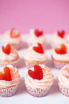 These Strawberry Cupcakes are made with chunks of fresh strawberries in the cake batter and are topped with a luscious pink Strawberry Buttercream Frosting. Bursting with flavor, these cupcakes would go down a treat at any celebration! Valentine Desserts, Valentine Cupcakes, Easter Cupcakes, Flower Cupcakes, Christmas Cupcakes, Birthday Cupcakes, 2nd Birthday, Food Cakes, Cupcake Cakes