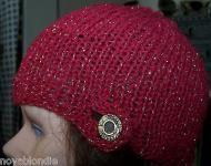 Price $16.99 Beanie Hat Skull Cap Hand Knit New Ooak Red Cotton Gold Metallic Brass Button. Designed and hand knit by me in dark red cotton with gold...