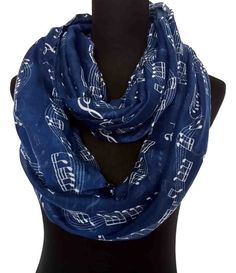 Navy Music Notes Print Infinity Loop Scarf Women's by LinaScarf