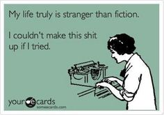 My life is stranger than fiction. I couldn't make this shit up if I tried. Hi yes this would be my life. No Kidding, Lol, E Cards, How I Feel, Writing A Book, Writing Humor, True Stories, I Laughed, Laughter