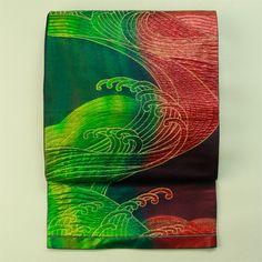 Green and red gradatinon, fukuro obi / 緑×赤グラデ地ふくれ織りの波頭文様六通袋帯