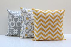 Euro Sham Pillow Covers Yellow Grey Combo 3 by PillowsbyWillow Burke Nursery, Accent Pillows, Bed Pillows, Decor Pillows, Interior Design Images, Scatter Cushions, Home Decor Styles, Soft Furnishings, Decorative Pillows