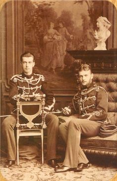 Grand Dukes Serge and Paul of Russia, youngest sons of Tsar Alexander II and Tsarina Maria Alexandrovna of Russia; 1870s.