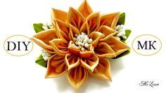 Цветок канзаши, МК / D.I.Y. Kanzashi flower / Ribbon flower tutorial / З...