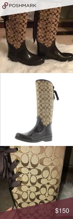 AUTHENTIC COACH RAIN BOOTS Beautiful never worn authentic coach rain boots! Coach Shoes Winter & Rain Boots