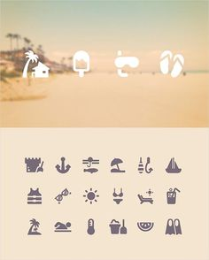 Icons related to aquatic and forestry activities.