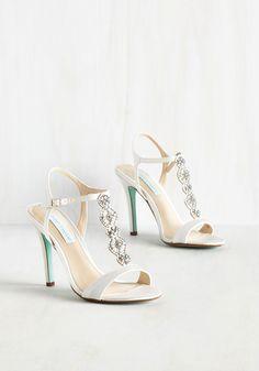 Dazzle the Day Away Heel by Betsey Johnson - Floral, Rhinestones, Wedding, Bridesmaid, Bride, High, Satin, White