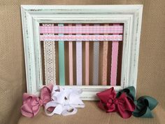 Bow Board Hairbow Holder Distressed Hair Bow Holder Bow Storage HairBow Organizer Shabby Rustic Headband Holder Girls Accessory HairClip by GraceandJewelsBow on Etsy https://www.etsy.com/listing/280814388/bow-board-hairbow-holder-distressed-hair