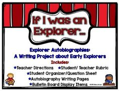 If I Was an Explorer: An Autobiography Writing Project about Explorers Autobiography Project, Autobiography Writing, School Resources, Teaching Resources, Teaching Ideas, Explorers Unit, Middle School Grades, Expository Writing, Literature Circles