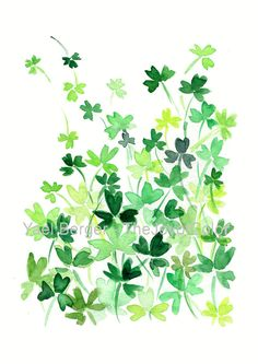 Clover Field art print print of watercolor by TheJoyofColor