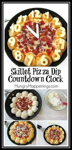 Ring in the New Year's by serving this cheesy Skillet Pizza Dip Countdown Clock loaded with pepperoni and bacon. The four cheese dip is surrounded by 12 cheese filled pizza puffs each decorated with a number on a clock and makes the perfect appetizer for your New Year's Eve party.
