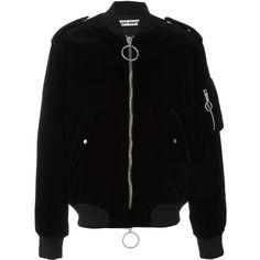 Off-White velvet bomber jacket (4.865 BRL) ❤ liked on Polyvore featuring men's fashion, men's clothing, men's outerwear, men's jackets, black, mens velvet bomber jacket and mens velvet jacket