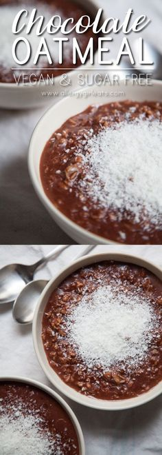 Vegan Chocolate Oatmeal is 4 ingredients, top 8 free, sugar-free, and a sinfully healthy way to start the morning.