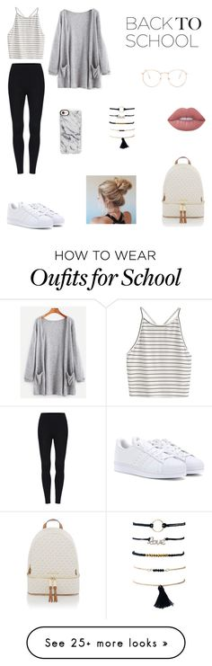 """School Style!"" by olympia-valance on Polyvore featuring Glance Eyewear, Michael Kors, Casetify, Lime Crime and adidas"
