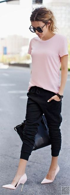 3be3a6f55d20 14.  Dress up Your Jogger  Pants with a Cute Top and Killer