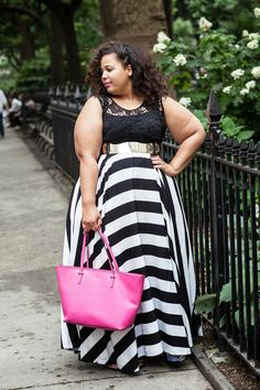 I need the bottom half of this dress in my life...the top, meehhh Plus size stripe maxi dress