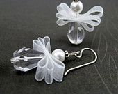 Angel bead and ribbon earrings