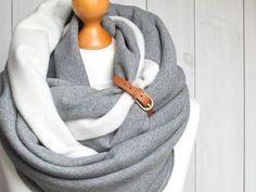 EXTRA CHUNKY Infinity Scarf with leather cuff high street fashion infinity scarf cozy SNOOD (28.90 USD) by Zojanka